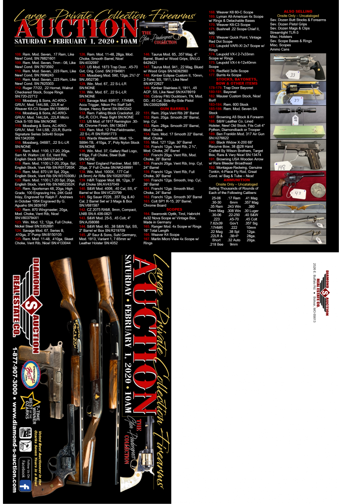 LARGE PRIVATE COLLECTION FIREARMS AUCTION